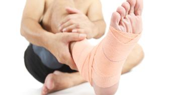 ankle sprain bandaged foot