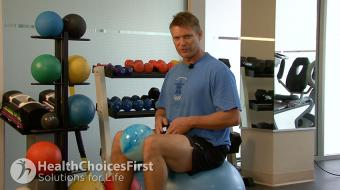 Jackson Sayers, B.Sc. (Kinesiology), discusses psoas strength exercises on the exercise ball.