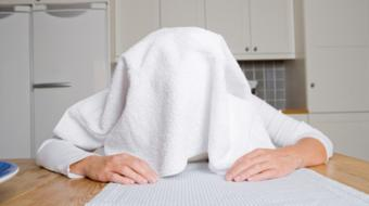 towel over head